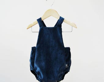 Baby Romper Blue Soft Corduroy with Lining