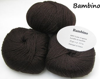 10 balls 100% lamb wool / very soft / Made in France / chocolate