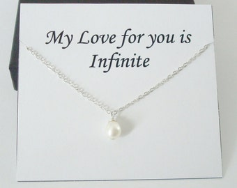 Solitaire White Pearl Sterling Silver Necklace ~~Personalized Jewelry Gift for Friend, Sister, Bridal Party, Mom, Daughter, Wife, Graduation