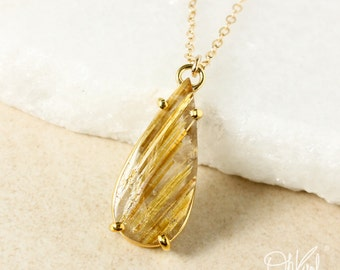 Gold Teardrop Natural Golden Rutile Quartz Pendant Necklace