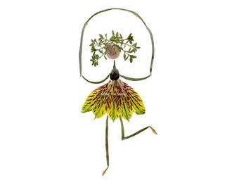 Jump rope - Botanical art stationery - Pressed flower art - Garden notecard, invitation - Kids room decor - Jumping, oshibana, herbarium art