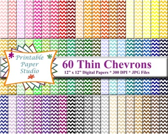 Thin Chevron Digital Paper Pack, Rainbow Paper Instant Download for Scrapbooking, Chevron Scrapbook Pages Digital File, Scrapbook Paper Pack