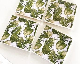 Ceramic Tile Coasters - Retro Palm Leaves