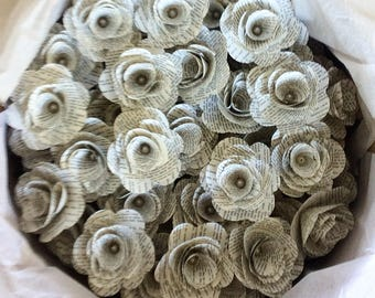 100 Book Flowers -Without Stems, Paper Flowers, Stemless Flowers, Wedding Flowers, DIY Wedding