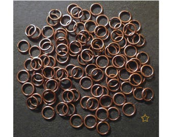 Copper rings open 5 mm, lot of 100 pieces