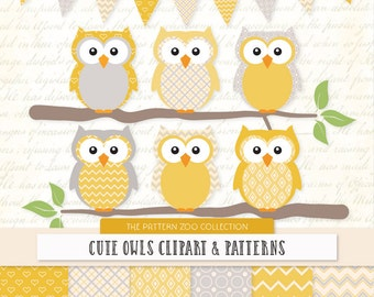Patterned Sunshine Owls Clipart and Digital Papers - Yellow Owl Clipart, Owl Vectors, Baby Owls, Cute Owls