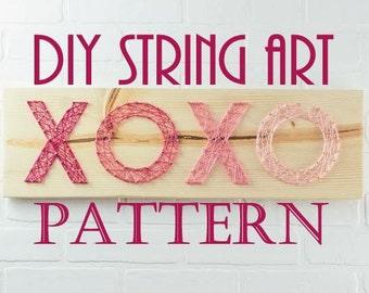 DIY Kisses and Hugs String Art Pattern - XOXO