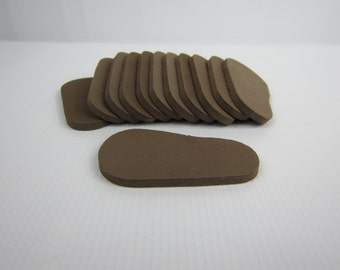 """5mm Doll Soles, 12-Pack Doll Soles, 5mm Brown Foam Doll shoe Soles, 18"""" die cut doll soles, doll supplies, shoe supplies, free shipping"""