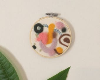 Contemporary Abstract Needle Felt Embroidery Wall Hanging