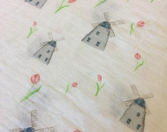 Double gauze swaddle, lighthouse, 70 bamboo 30 cotton, Muslin swaddle, swaddle baby blanket, light weight breathable baby blanket