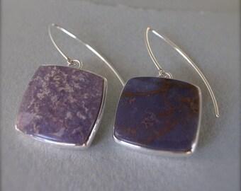 asymmetrical square earrings - burro creek agate