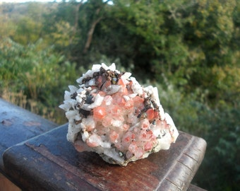 Pink Quartz Cluster with Pyrite and Chalcopyrite