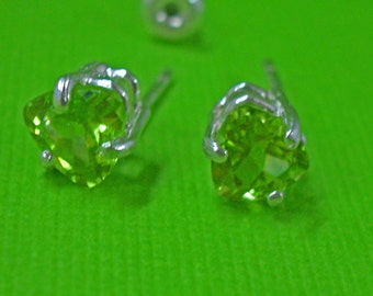 Peridot Earrings - Peridot Trillions and Sterling Silver Post Earrings - August Birthstone Post Earrings