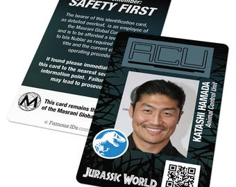 Jurassic World ID badge: Jurassic World prop, gifts, patch, animal control, ACU, Fallen Kingdom, custom card, Jurassic Park costume, cosplay