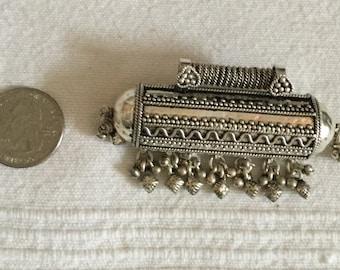 Antique Yemen ethnic silver Bedouin prayer box amulet