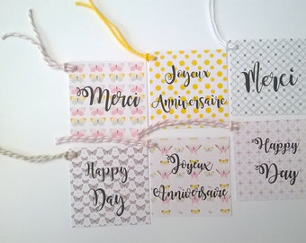 6 labels butterflies and pastel for various occasions