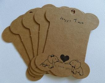 Set of 5 large tags happy time kraft cardboard 2