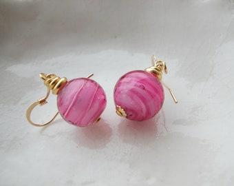 Small Pink Murano Glass Earrings, 10mm Earrings
