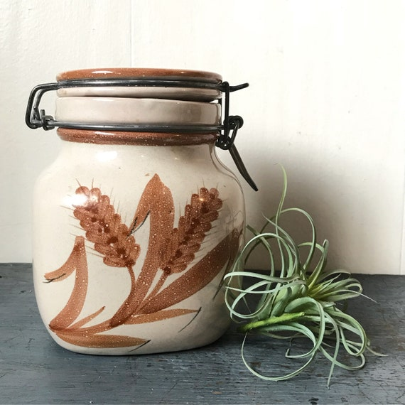 vintage pottery canister with gasket lid - kitchen food storage jar - hand painted studio pottery