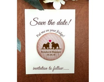 wedding save the date magnets bull dog dog lover wedding unique favors  Wood wedding save the date wooden magnets custom save the date