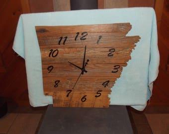 large barnwood Arkansas clock, authentic old barn wood from crib, reclaimed, repurposed wood