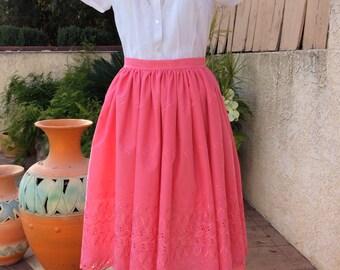 1950s skirt/ 50s skirt / pinup skirt  / full skirt /high waisted circle skirt / swing dress / fit and flare/  midi skirt / retro skirt