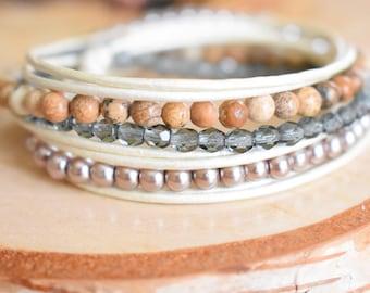 Women beaded wrap bracelet, Leather wrap bracelet, Boho bracelet, Jasper gemstone, White leather, Bohemian jewelry for girls, Women gift