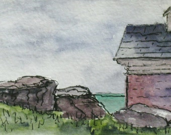ACEO Original Painting Watercolor Pen Ink Seascape Oil House at Pemaquid Light Pen and Ink Drawing Plein Air Art by Kathleen Daughan