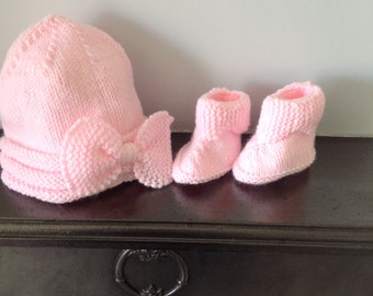 Hand Knit Baby Hat and Boots