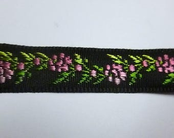 Black Ribbon, Fuchsia flowers and green patterns