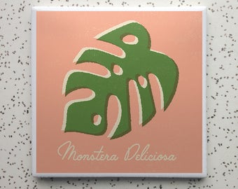Monstera Deliciosa Philodendron Houseplant Tile Coaster