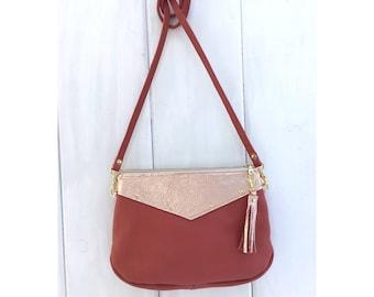 Leather small crossbody bag, rose gold leather crossbody clutch, zippered crossbody purse, genuine leather, handmade USA, festival bag