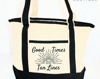 Good Times & Tan Lines Tote, Tote Bag, Canvas Tote Bag, Tote Bag Canvas, Beach Bag, Shopping Bag, Gift For Her, Picnic Bag, Summer Bag
