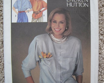 UNCUT Misses Fly Front Blouse in Two Lengths - Size 8 - Simplicity Pattern 6684 by Lauren Hutton - Vintage 1984