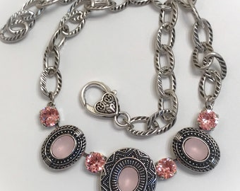 Crystal Necklace using Swarovski CRYSTALLIZED Elements in Light Rose and Milk Pink Glass, 8mm and 10x8mm, Antique Silver, Unique Necklace