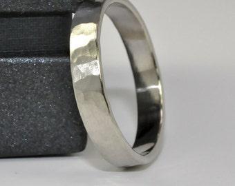 White Gold Ring, Hammered Matte 14k Palladium White Gold 4mm band, Mens Wedding Ring Sea Babe Jewelry