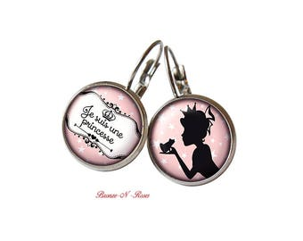 """Child girl """"I'm a Princess"""" earrings cabochon steel gift accessory"""