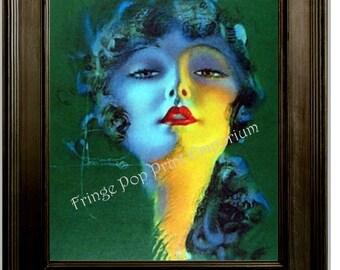 Art Deco Flapper Art Print 8 x 10 - Roaring 20s - Jazz Age - Pin Up on Green Backdrop