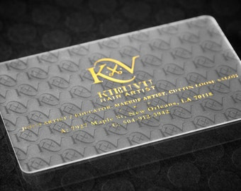 "500 Business Cards tags - 30 mil 30PT frosted plastic stock - Metallic foil gold silver copper rose - 3.375""x2.125"" - THICK custom printed"