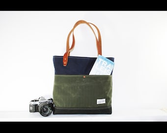 waxed heavy canvas tote bag - made in USA - EXPLORER BAG 103