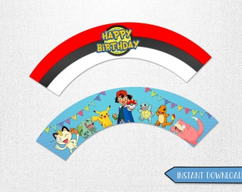 Pokemon wrappers, Pokemon cupcake wrappers! 2 designs, instant download!