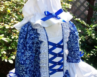 Girls Colonial Dress Williamsburg Costume/Felicity   ..Plus Mob Cap..PLEASE read my lead time