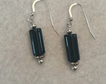 Black Onyx and Sterling Silver Dangle Earrings