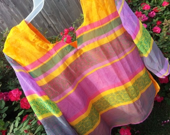 Mother Daughter Matching - Vibrant Women's Fancy Lined Sari Silk Blouse Shirt - Yellow and Lavender Stripe - Nila H782
