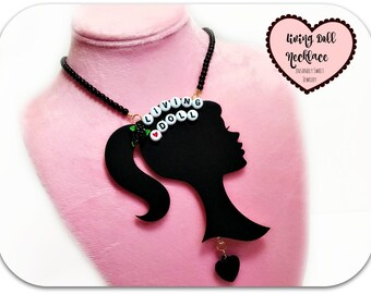 Kawaii Jewelry Living Doll Necklace Doll Silhouette Retro Doll