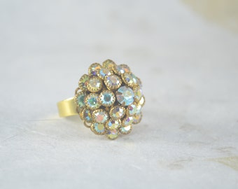 Crystal Gold Tone Cocktail Ring - Bling Ring - Adjustable Gold Plated Band
