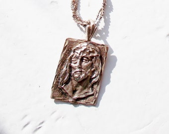 """Vintage Sterling Necklacet Jesus Head Woven 11"""" Chain 1980's FREE US SHIPPING"""