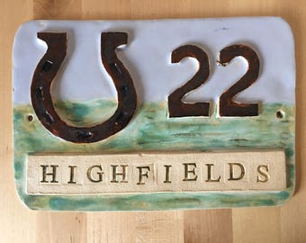 House Name Plaque / Bespoke Ceramic House Name Plaque/ House Number Sign/ Personalised House Sign