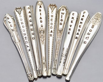 Cheese Markers Hand Stamped you customize Vintage Silver Plate Spoon handles 1 Piece. Antique Silverware. Vintage Recycled Cheese Markers.
