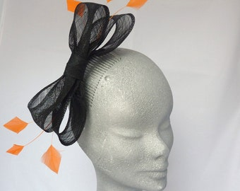 Black Bow Jennie Fascinator with Orange Feathers Ideal for the races or Wedding Guest.